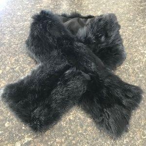 Lane Bryant Genuine Rabbit Fur Stole Neck Wrap Blk